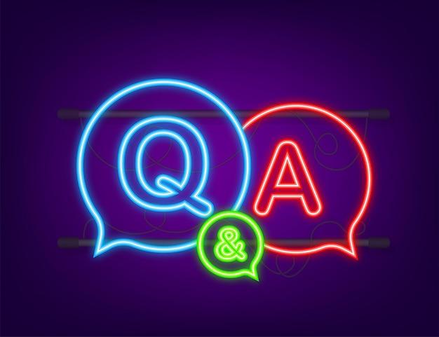 Bubble chat di domande e risposte. icona al neon. illustrazione di riserva di vettore.