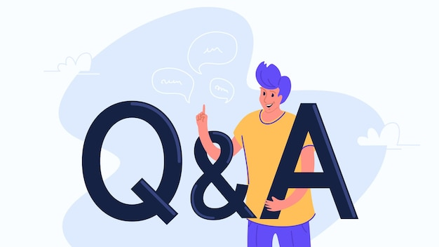 Domanda e risposta design casual con simboli di lettere q e a