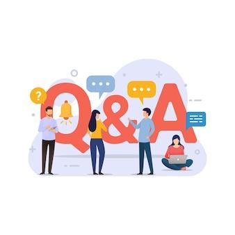 Concetto di design di domande e risposte con persone minuscole