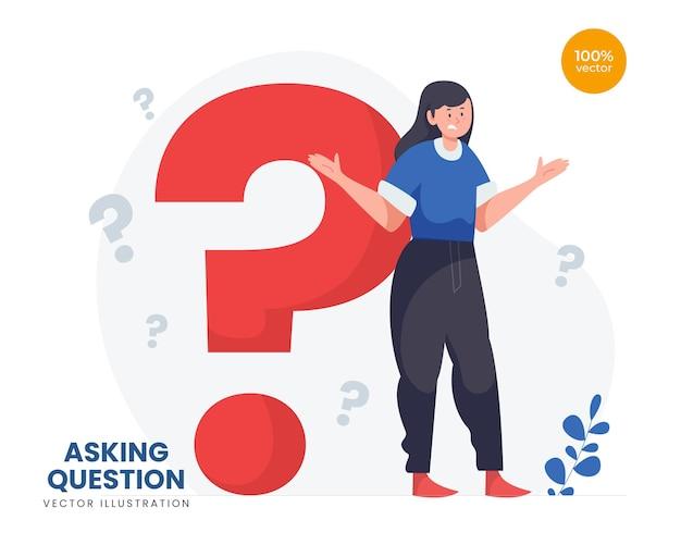 Illustrazione del concetto di domanda, la ragazza che pensa a qualcosa con i punti interrogativi accanto come simbolo.