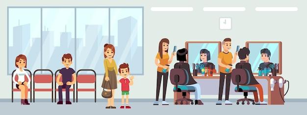 Coda nel negozio di barbiere. persone in attesa di taglio di capelli, cartoni animati donne uomini bambini in salotto. linea di attesa del salone di parrucchiere, illustrazione di vettore del parrucchiere femminile maschio felice. coda dal parrucchiere nel negozio di barbiere