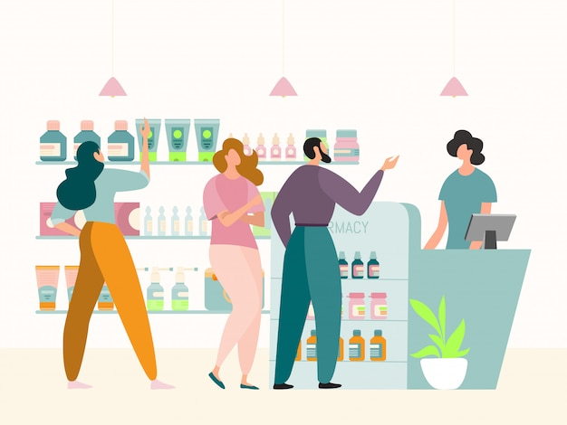Faccia la coda al concetto interno del deposito della farmacia, illustrazione. le persone i clienti personaggio dietro il bancone, in attesa di acquistare