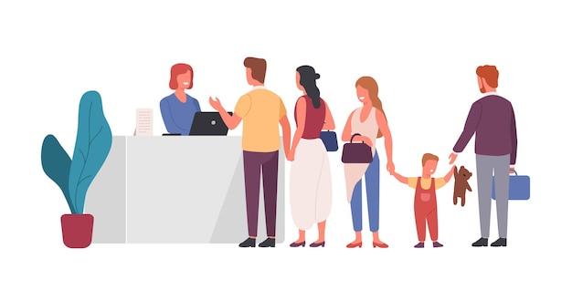 Coda all'illustrazione piana di vettore della reception. persone che aspettano in fila ai personaggi dei cartoni animati della reception. terminale dell'aeroporto, elemento di design della tabella di registrazione dell'hotel. receptionist amichevole che aiuta i clienti.