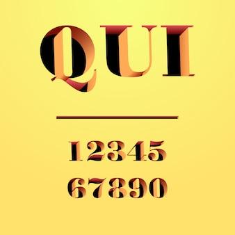 Qui carattere tipografico moderno scolpito nel muro, lettere e numeri