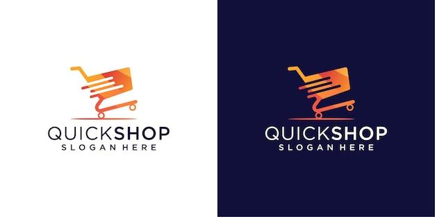 Design del logo del negozio rapido nel concetto di gradiente