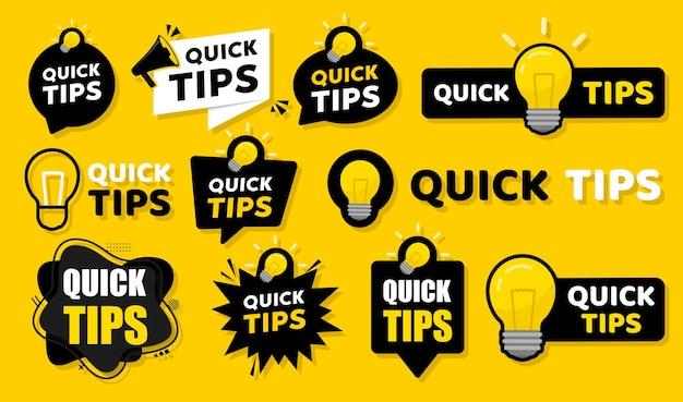 Illustrazione vettoriale di badge suggerimenti rapidi Vettore Premium