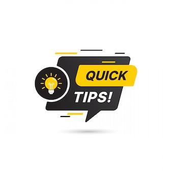 Suggerimenti rapidi, trucchi utili icona logo vettoriale o set di simboli con elemento di colore e lampadina nera e gialla