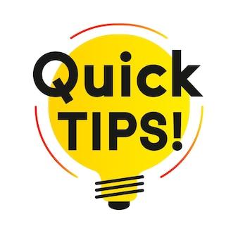 Suggerimenti rapidi etichetta vettoriale stile piatto per soluzioni di badge di suggerimenti e suggerimenti utili per banner di consigli
