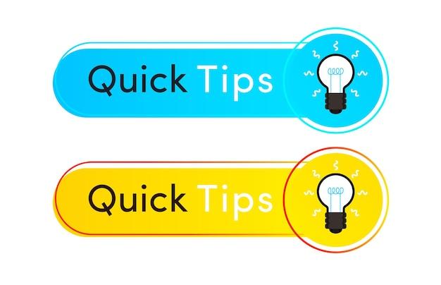 Suggerimenti rapidi etichetta vettore stile piatto per informazioni utili adesivo tooltip badge soluzione e consigli