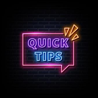 Suggerimenti rapidi insegne al neon in stile testo