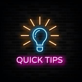 Suggerimenti rapidi insegne al neon