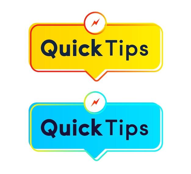 Suggerimenti rapidi per adesivi vettoriali impostati in stile moderno per soluzioni di badge tooltip e banner di consigli utili