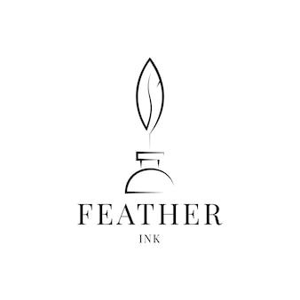 Penna piuma d'oca e bottiglia di inchiostro. vettore di design del logo firma minimalista