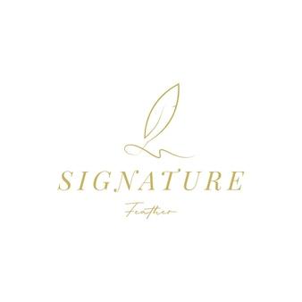 Penna piuma d'oca, design del logo della scrittura a mano con firma minimalista