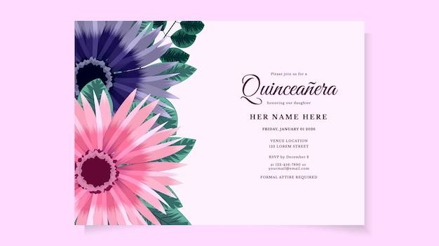Biglietto d'invito per volantino festa di compleanno quinceanera per ragazza dell'america latina con disegno floreale