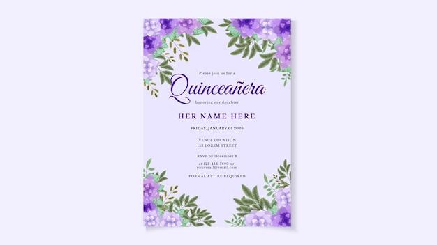 Biglietto d'invito per volantino festa di compleanno di quinceanera per ragazza dell'america latina con disegno floreale