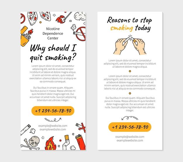 Smettere di fumare sigarette flyer in stile doodle illustrazione