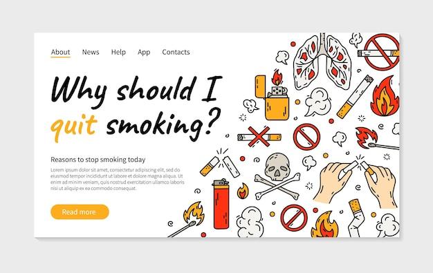 Smettere di fumare sigaretta illustrazione vettoriale pagina di destinazione