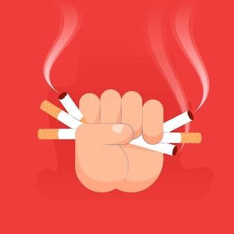 Smettere di fumare il concetto disegnato a mano design