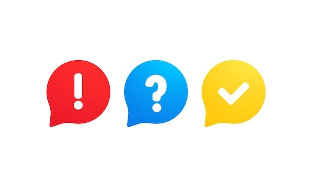Quiz icona logo vettoriale. discorsi a bolle con segni di domanda e segno di spunta. concetto di comunicazione sociale, chat, colloquio, voto, discussione, conversazione, dialogo di squadra, chat di gruppo.