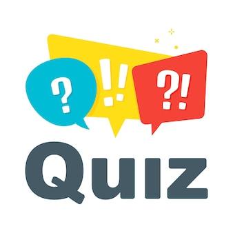 Logo del quiz isolato su bianco, icona del questionario, segno di sondaggio, simbolo del discorso della bolla piatta.