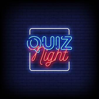 Testo in stile quiz notte insegne al neon