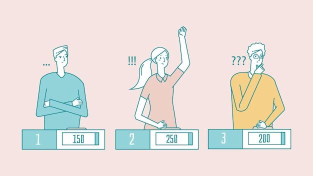 Spettacolo a quiz. giovani intelligenti, studenti che giocano d'azzardo. risposta della ragazza, vincitore del programma televisivo
