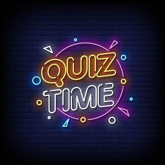 Quiz time insegne al neon stile testo vettoriale