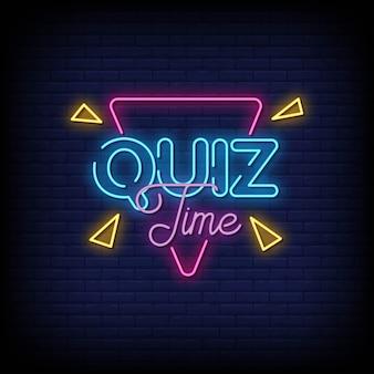 Testo di stile delle insegne al neon di tempo di quiz