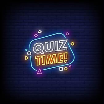 Quiz time insegne al neon stile testoz