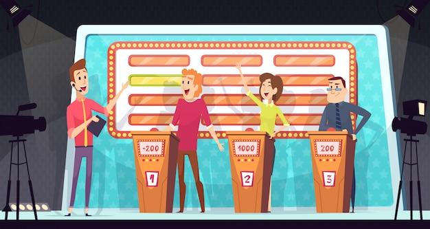 Programma televisivo quiz. la competizione intelligente con tre giocatori ha risposto alla domanda sullo sfondo del gioco televisivo del torneo di intrattenimento