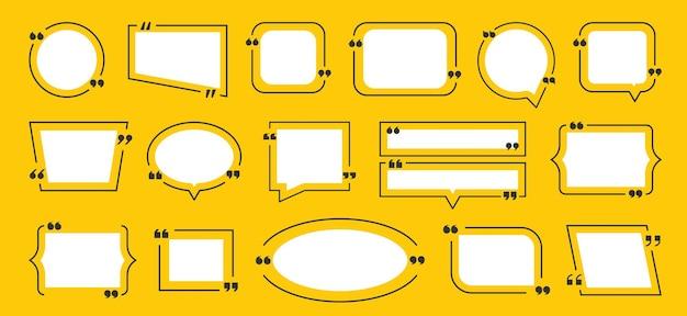 Cornice della scatola di citazione. citare l'insieme dell'icona delle caselle gialle. insieme della struttura di idea. il blog della bolla di immagine grafica vettoriale cita i simboli per il commento o la comunicazione di testo