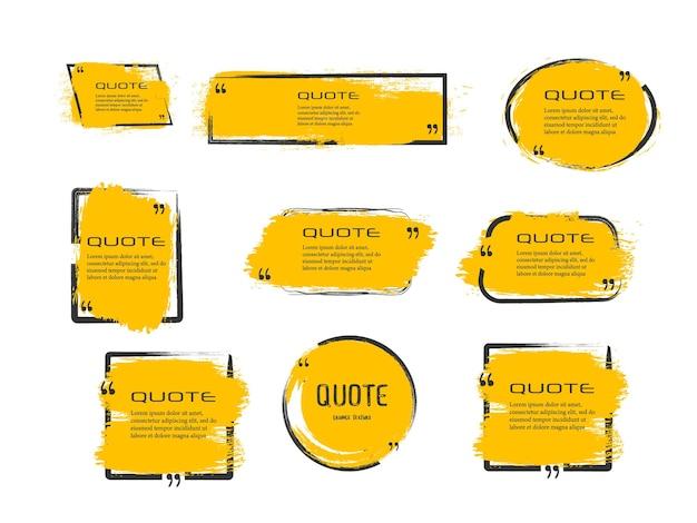 Citazione scatola cornice grande set citazione scatola icona sms citazione scatole vuoto grunge pennello sfondo vettoriale