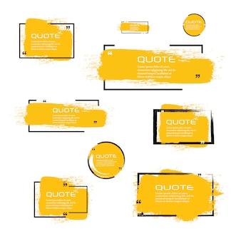 Cofanetto per scatola, set grande. icona della casella di preventivo. caselle di citazione sms. sfondo pennello grunge bianco.