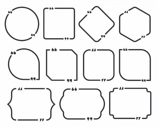 Cornice per scatola di citazione. set di modelli di casella di citazione e fumetto.