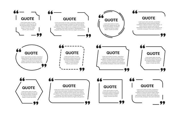 Set di cornici per scatole di citazione. modello per il testo.