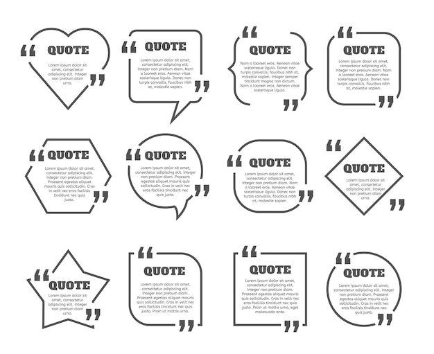 Set di cornici per caselle di citazione. modello di struttura della cornice della casella di testo. commento vettoriale, bordi dei messaggi.