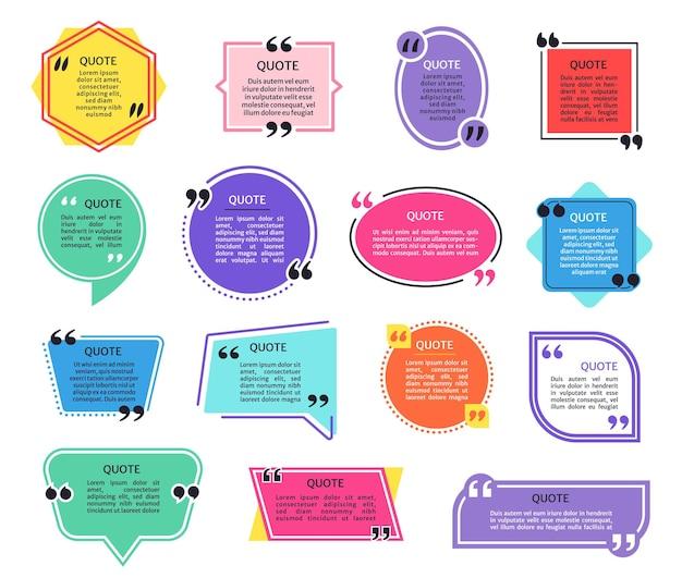 Caselle di citazione cornici di citazioni colorate con virgolette messaggio di testo con tag di informazioni nella bolla di dialogo