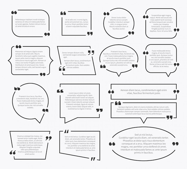 Caselle di preventivo. design della casella della frase di citazione, segni di paragrafo di idea commento frase menzione descrizione bolle con virgole impostate