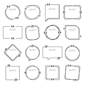 Caselle di preventivo. cornici di citazioni di frasi, citazioni di citazioni di commenti e set di modelli di cornici per idee
