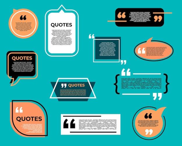 Citazione bolla o casella, messaggio di chat, commento e annotare le icone di citazione. fumetto, casella di testo, informazioni o cornici di dialogo con virgolette, modelli isolati di discorso, citazioni di informazioni