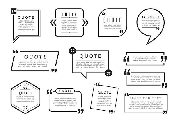 Set di bolle di citazione. collezione di frame di blog diversi. citazione del blog, informazioni sul fumetto, illustrazione di citazione della casella di testo