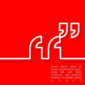 Cita virgole tipografia design a linea minima per volantini, biglietti, poster, copertine di brochure o altri prodotti di stampa. illustrazione vettoriale.