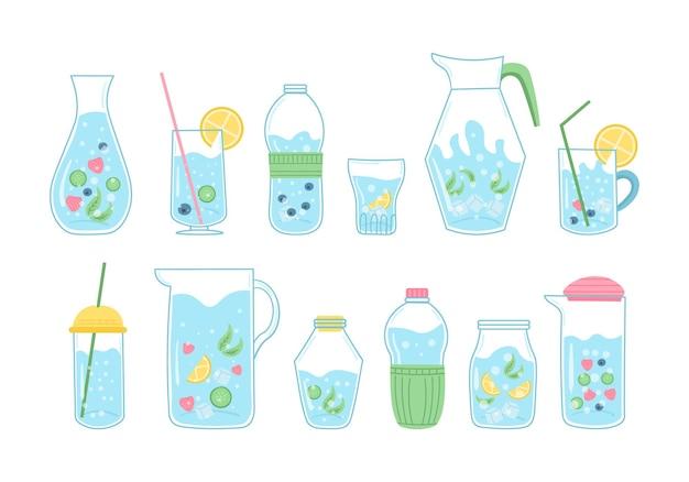 Quota bere più acqua stampa, bere con bottiglia di vetro e vetro