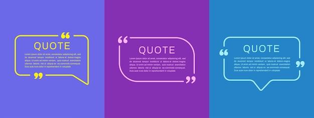 Modelli di cornici di citazione set di bolle di testo di citazione