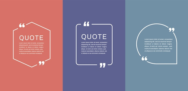 Modelli di cornici per citazioni set di bolle di testo per citazioni