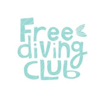 Citazione club di immersione libera isolato su sfondo bianco illustrazione vettoriale