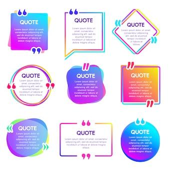 Casella info preventivo. set di riquadri per le note di testo, etichette di riferimento per le citazioni e parole di dialogo di testo