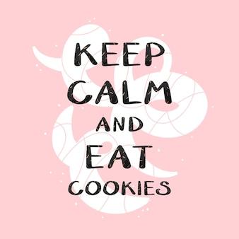 Cita mantieni la calma e mangia i biscotti illustrazione vettoriale