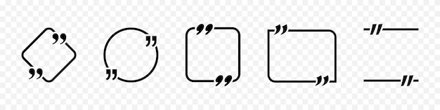 Citazione con cornice. cornice di citazione di vettore per testo. raccolta di citazioni di testo. modello di citazioni in bianco. illustrazione vettoriale